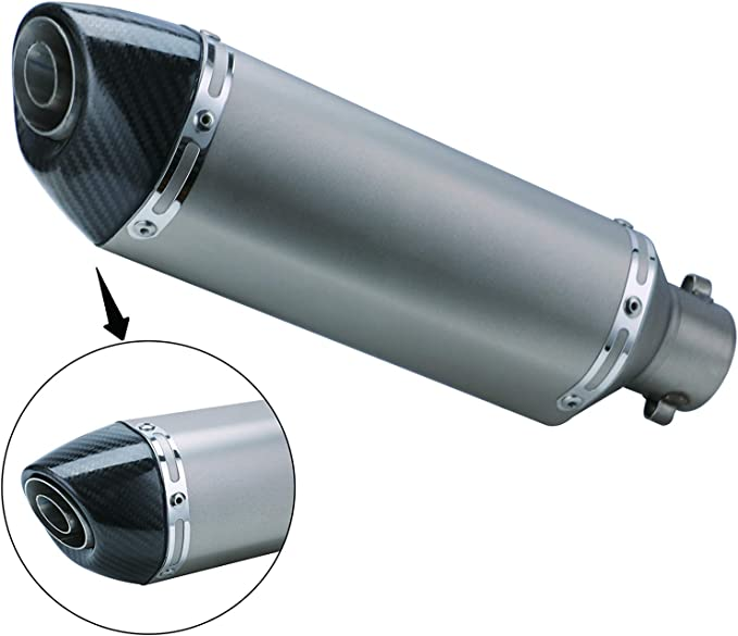 Iglobalbuy 38mm Motorcycle Scooter Exhaust Muffler Pipe W//Movable Silencer Carbon Fiber