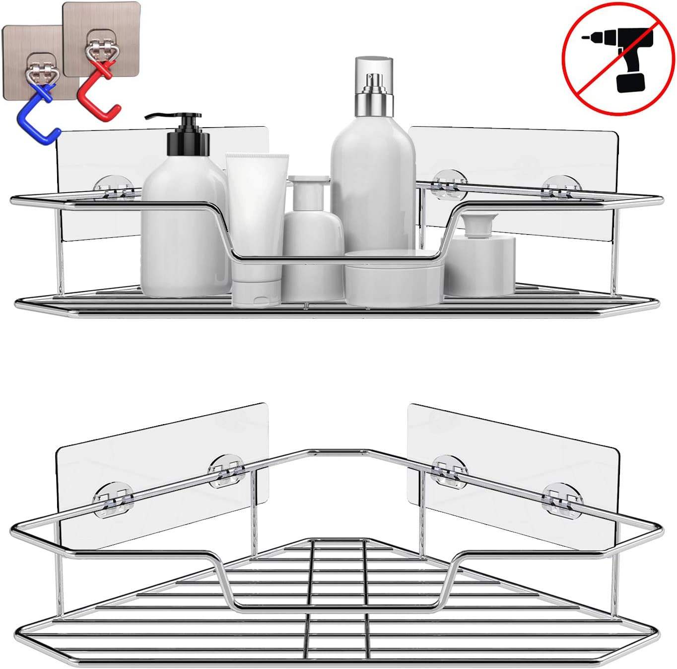 Soft Digits 2-Pack Corner Shower Caddy, Extra Mop Clip 2Pcs, 304 Stainless Steel Wide Space Shower Shelf with Adhesive, Hanging Storage Organizer Strong and Sturdy for Bathroom Kitchen