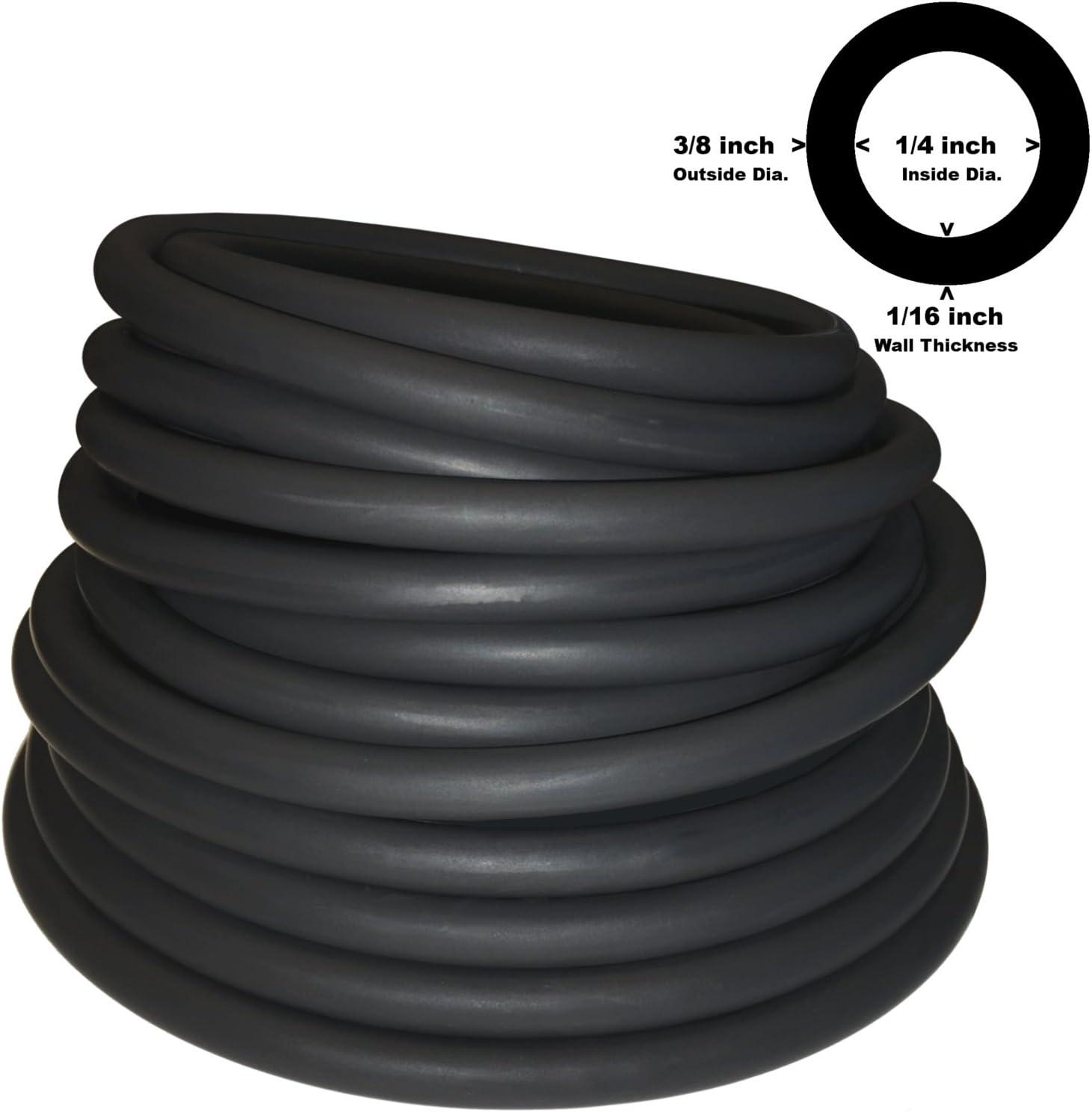 "50 Feet 1//4/""I.D 1//2/""O.D 1//8/"" w Heavy Duty Latex Rubber Tubing 50 Foot Reel Amber"
