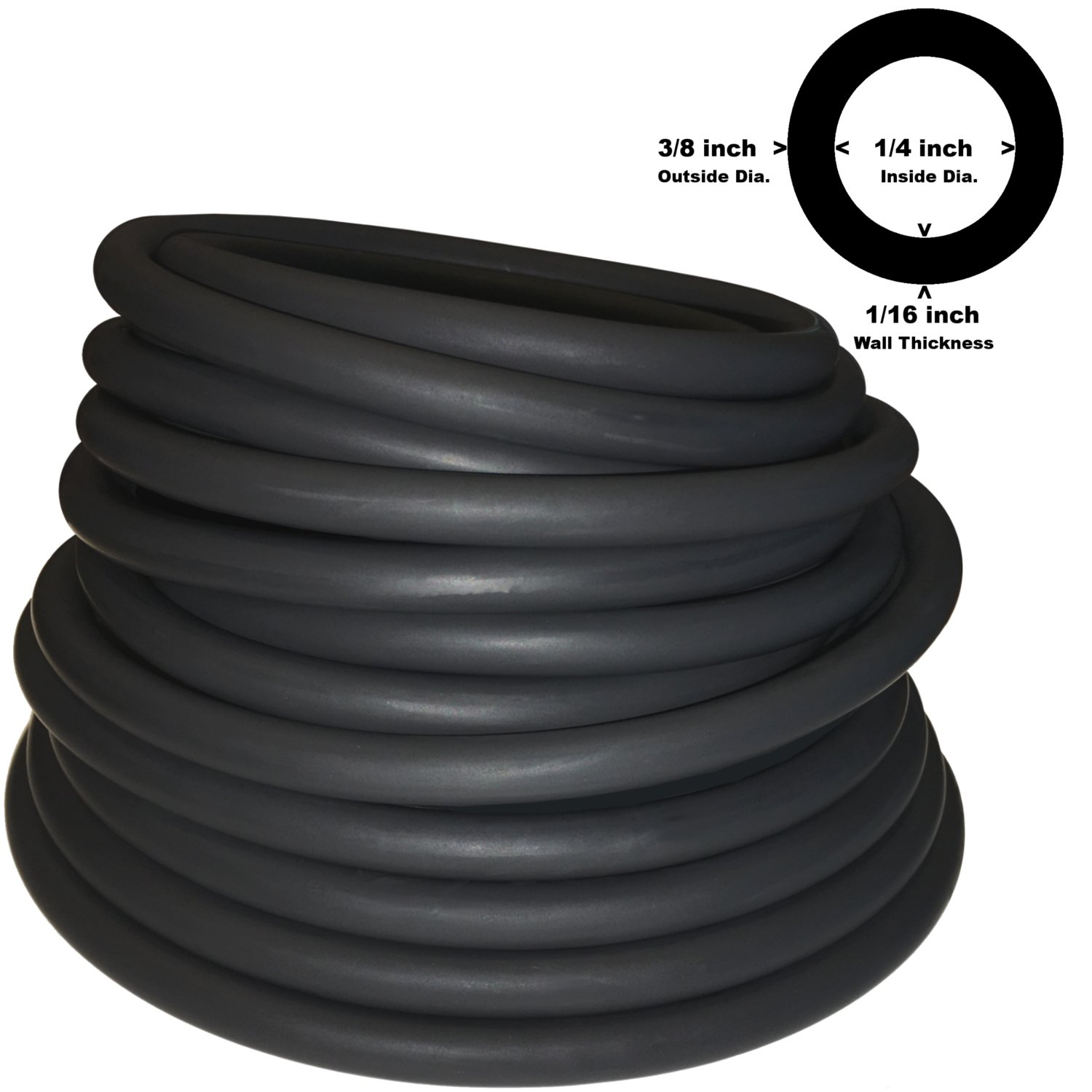 3/8in OD 1/4in ID Black Latex Rubber Tubing ONE Continuous Piece (Select  Length) (#804)
