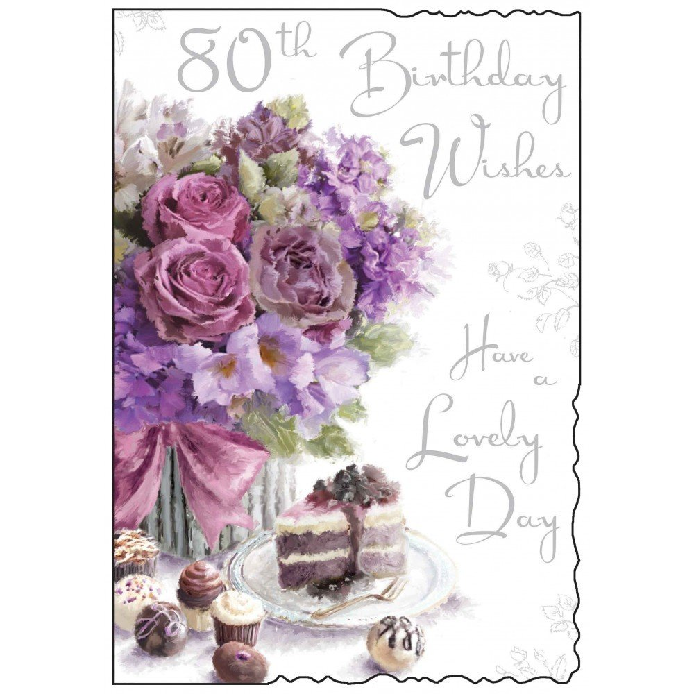 Happy 80th birthday card roses and cake design amazon happy 80th birthday card roses and cake design amazon electronics izmirmasajfo