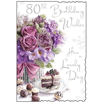 Happy 80th birthday card roses and cake design amazon happy 80th birthday card roses and cake design bookmarktalkfo Image collections