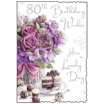 Happy 80th Birthday Card Roses And Cake Design Amazon