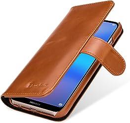 StilGut Talis Housse Huawei P20 Lite avec Porte-Cartes en Cuir véritable. Etui Portefeuille pour Huawei P20 Lite à Ouverture latérale et Languette magnétique, Cognac