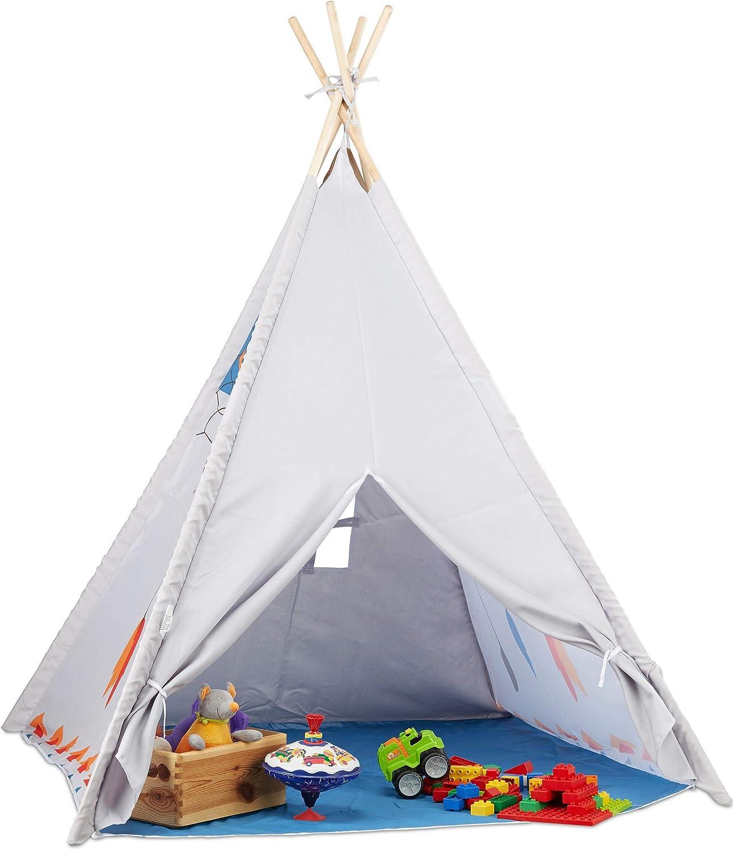 Relaxdays Tienda Tipi Niños para Exterior e Interior, Casa Juguete Infantil, Poliéster, 155 x 125 x 125 cm, Gris, Color (10022461)