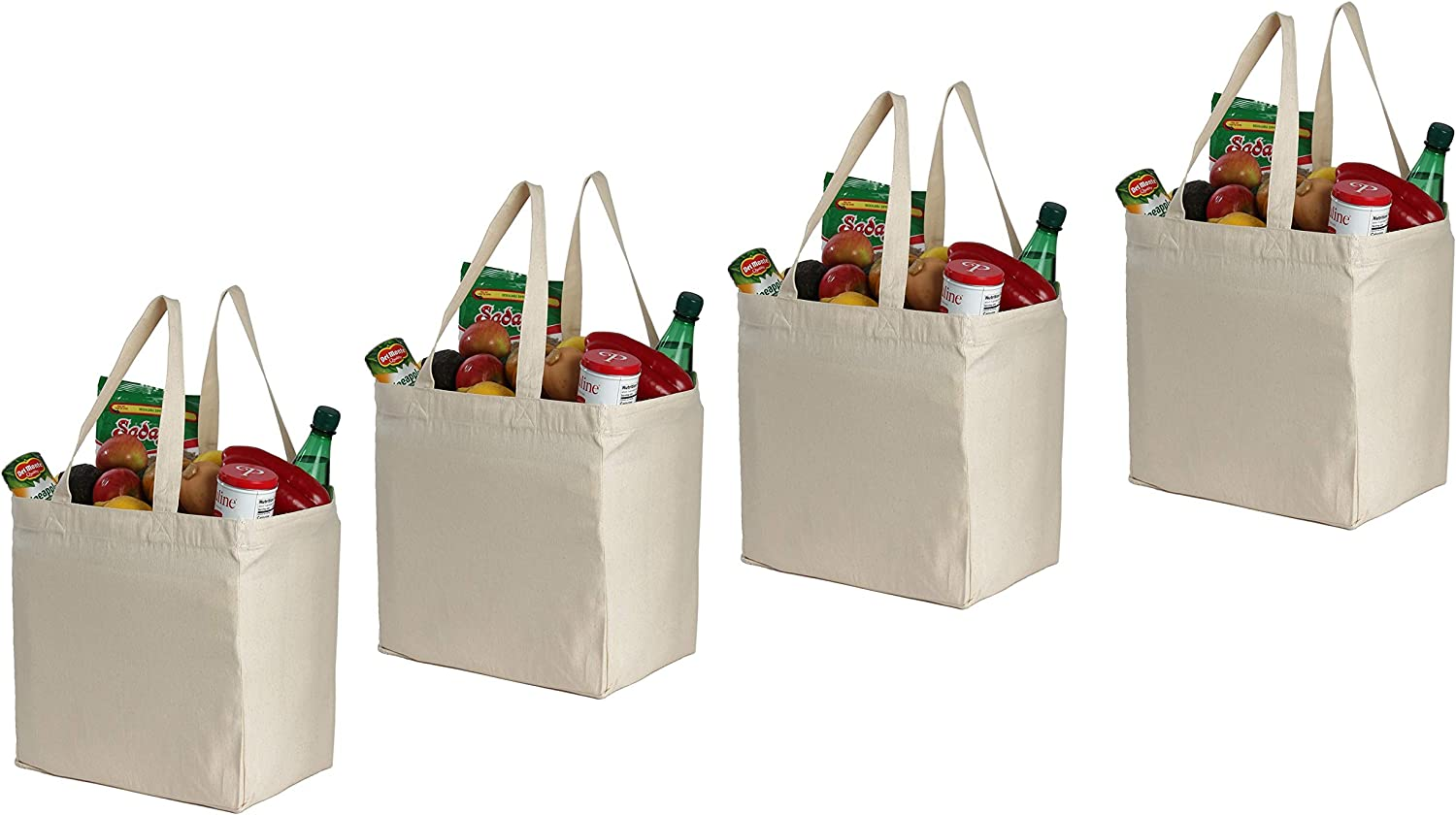 Earthwise Cotton Canvas Reusable Shopping Grocery Bag Tote Biodegradable (4 Pack) (Natural)