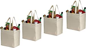 Earthwise Cotton Canvas Reusable Shopping Grocery Bag Tote (4 Pack) (Natural)