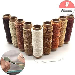 YuChiSX 9 Rollos hilo encerado de piel,Cuero hilo de hilo encerado,Multiolores hilo de cuero para coser a mano y máquina cuero manualidades: Amazon.es: Hogar
