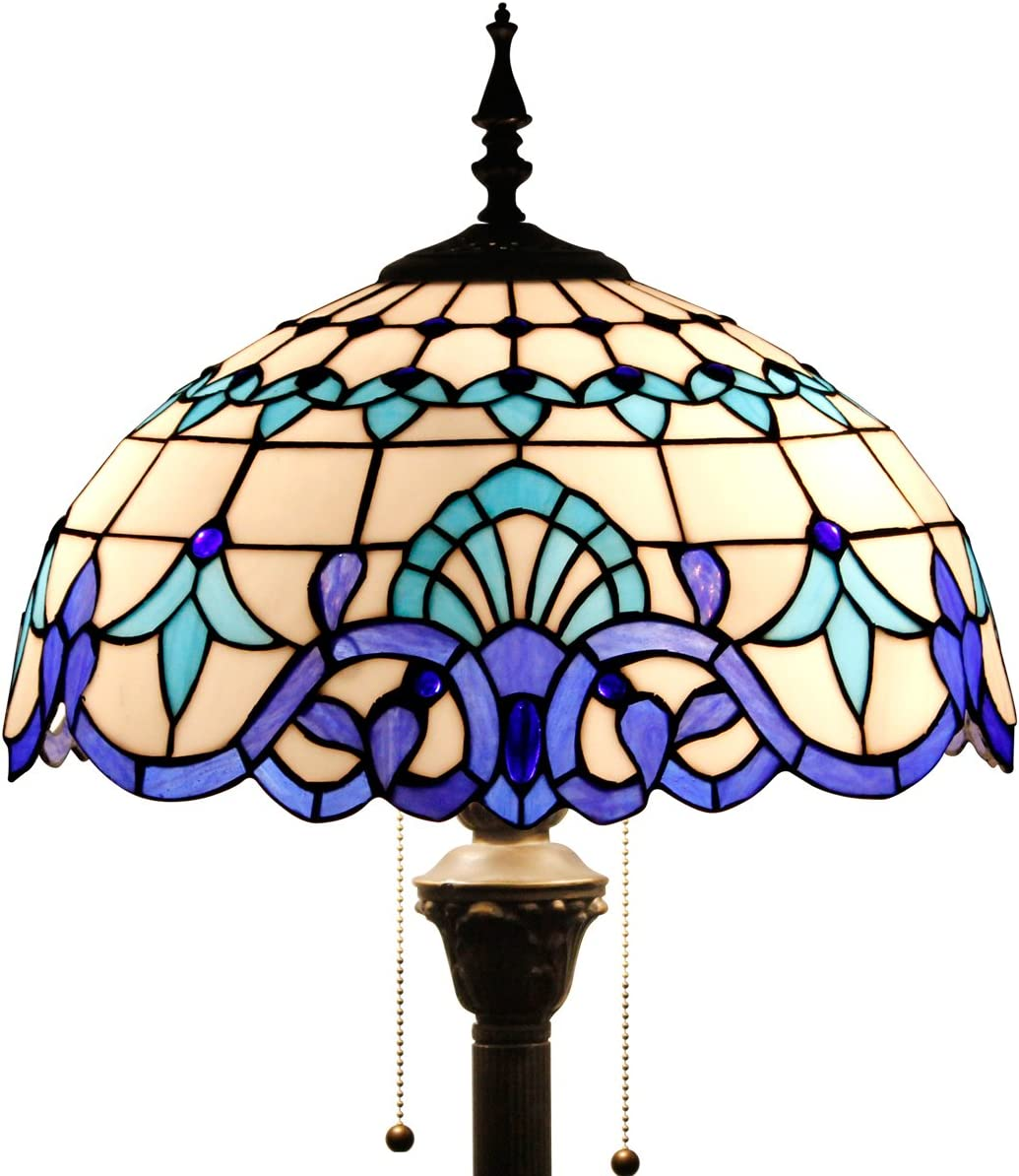 Tiffany Style Floor Standing Lamp 64 Inch Tall White Blue Stained Glass Baroque Shade 2 Light Antique Base for Bedroom Living Room Reading Lighting Table S003B WERFACTORY