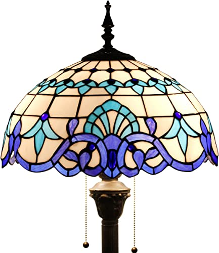 Tiffany Style Floor Lamp W16H64 Inch Tall White Blue Stained Glass Baroque Shade 2E26 Standing Reading Lighting Antique Base S003B WERFACTORY Lamps Lover Gift Bedroom Coffee Bedside Table Living Room