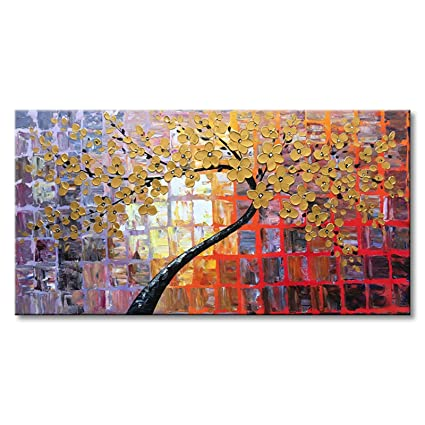 Seekland Art Hand Painted Modern Textured Flower Canvas Wall Art Pictures  Abstract Oil Painting Yellow Floral Artwork Home Decor Living Room  Stretched