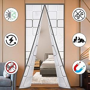 "Insulated Door Curtain, Thermal Magnetic Self-Sealing EVA Door Screen Winter Stop Draft Keep Cold Out Door Cover for Kitchen, Bedroom, Air Conditioner Room,Hands Free,Fits Doors up to 35"" x 80"", Grey"