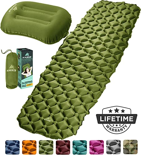 HiHiker Camping Sleeping Pad Inflatable Travel Pillow Ultralight Backpacking Air Mattress w Compact Carrying Bag Sleeping Mat for Hiking Traveling Outdoor Activities