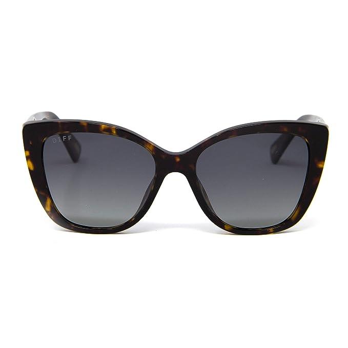 2cf3a10544675 DIFF Eyewear Ruby Cat Eye Polarized Acetate Designer Sunglasses For Women (Amber  Tortoise