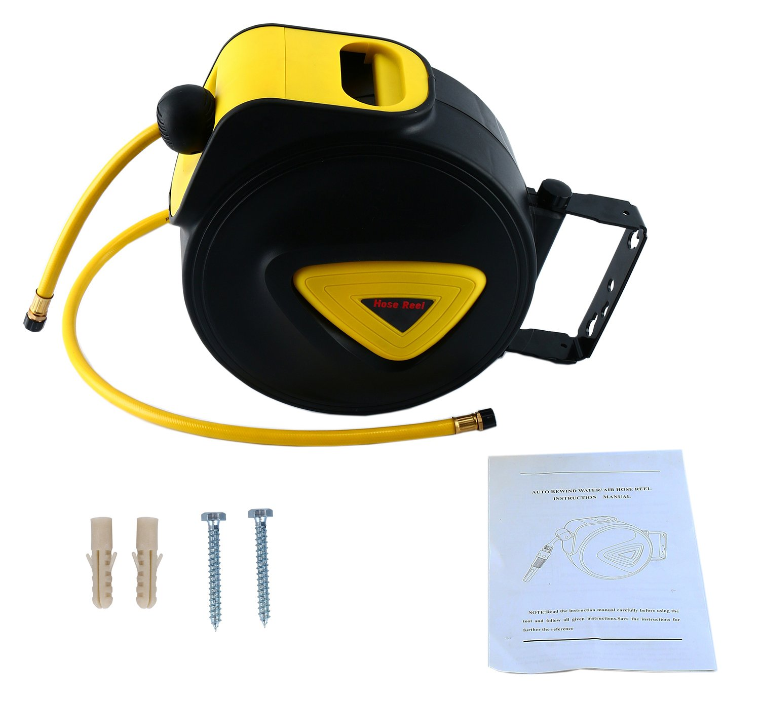 8MILELAKE Retractable Auto Rewind Air Hose Reel Wall Mount Tool Air Compressor 33'x5/16'' 180 degree rotation Air Hose Reel