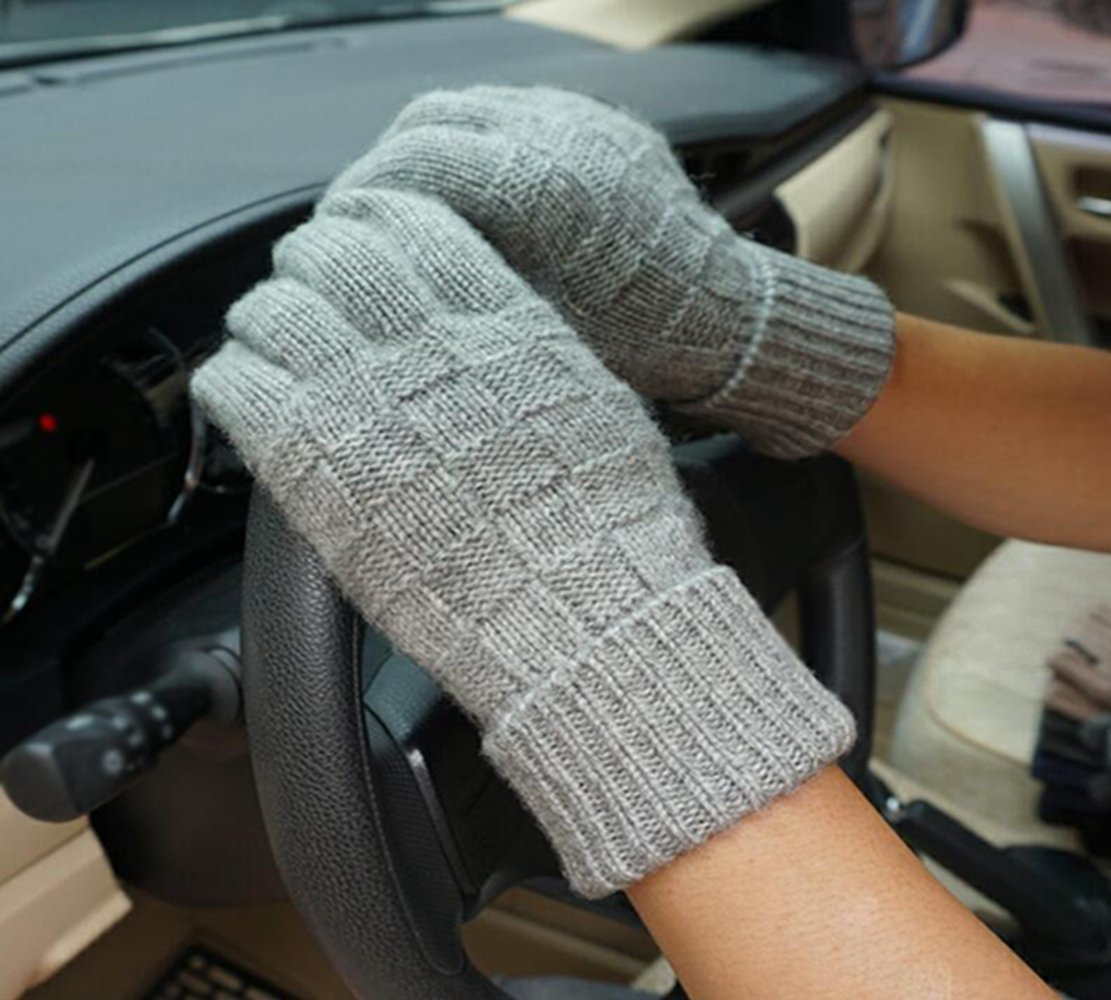Longless Herbst und Winter Männer Wolle warme Handschuhe handgewebte Touchscreen-Handschuhe
