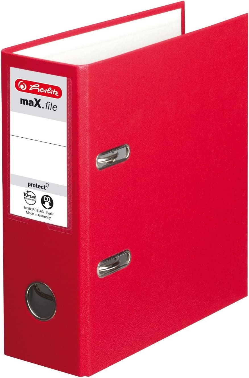 Red Herlitz max.File Protect A5 Upright Lever Arch File