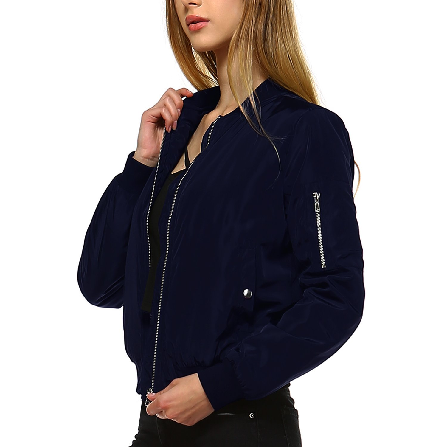Fashionazzle Women's Solid Classic Zip Up Quilted Short Bomber Jacket Padded Coat (Medium, BMJ01-Navy)