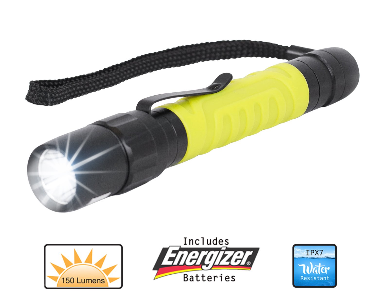 Internet's Best LED Pocket Flashlight with Clip | Includes 2 AA Energizer Batteries | Neon Yellow| Rubber Grip | Water Resistant | 150 Lumens