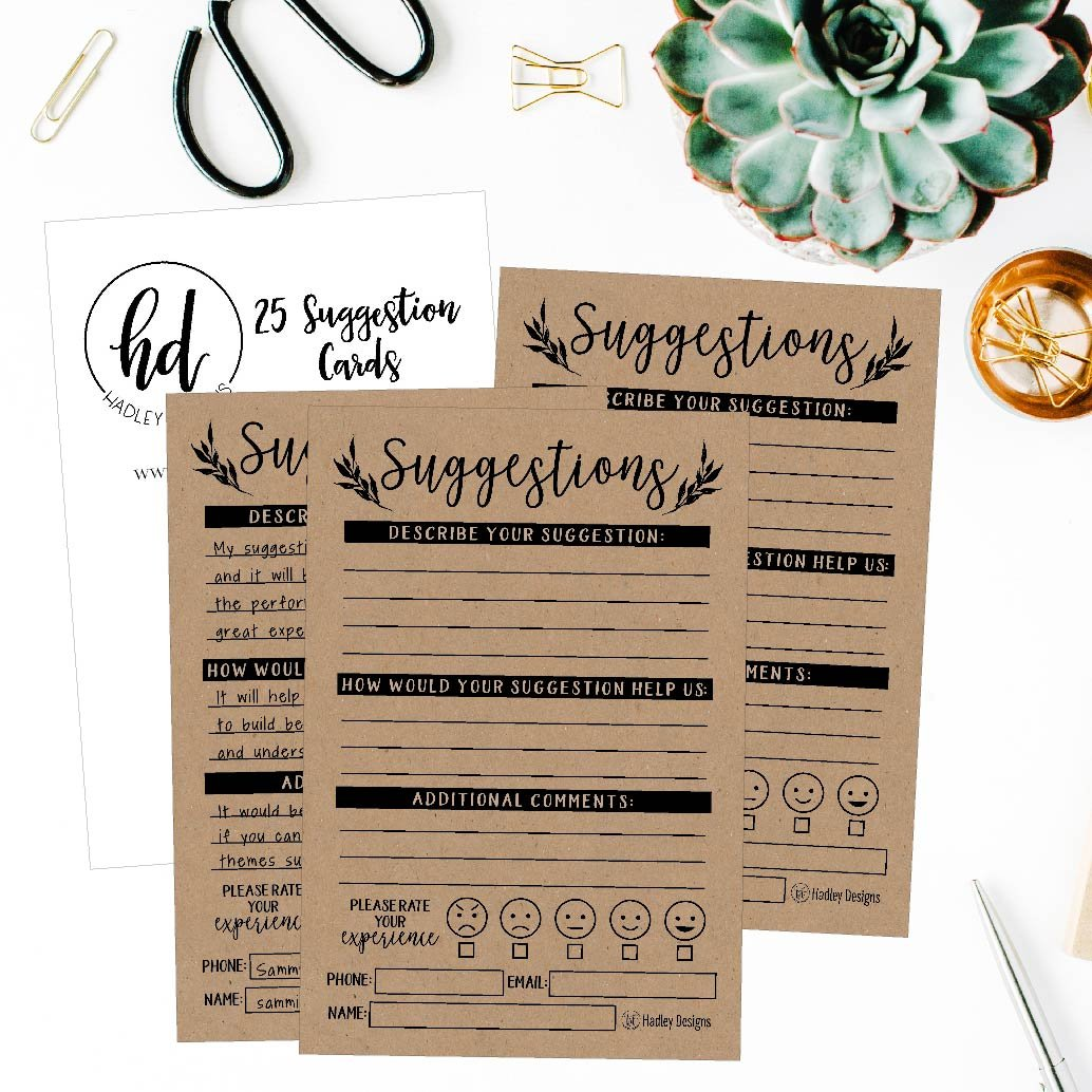 Business Employees Restaurant Blank Refill Paper 25 4x6 Rustic Feedback Comment Suggestion Card Forms For Customer Complaints Kraft Pad for Client Contact Info For Wooden or Metal Lock Box Holders
