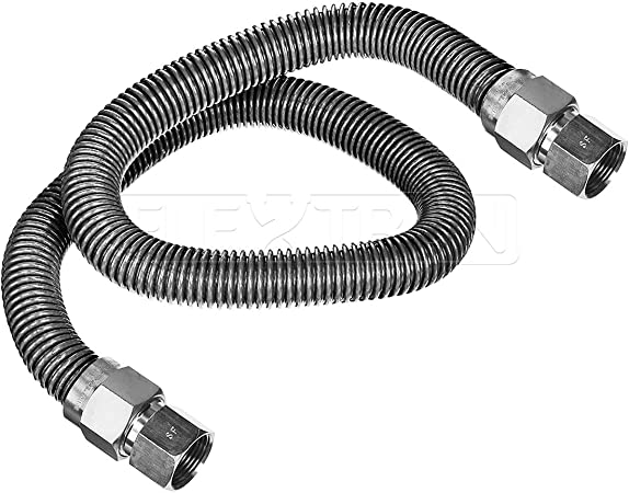 Flextron FTGC-SS38-72B 72 Inch Flexible Gas Line Connector with 1//2 Inch Outer Diameter /& 1//2 Inch FIP x 1//2 Inch FIP Fittings CSA Approved Uncoated Stainless Steel Water Heater Connector