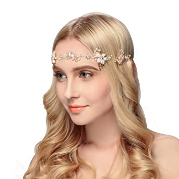 Image Unavailable. Image not available for. Color  Miallo Bridal Headband  Handmade Crystal Gold Plated Hair Accessories Headpiece for Women ... 95d7a01966f7