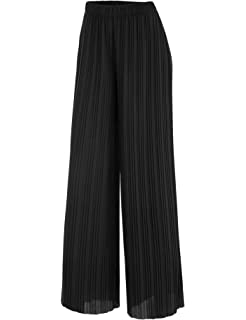 a3be7cdd9fd Made By Johnny MBJ Womens Pleated Wide Leg Palazzo Pants with Elastic Band