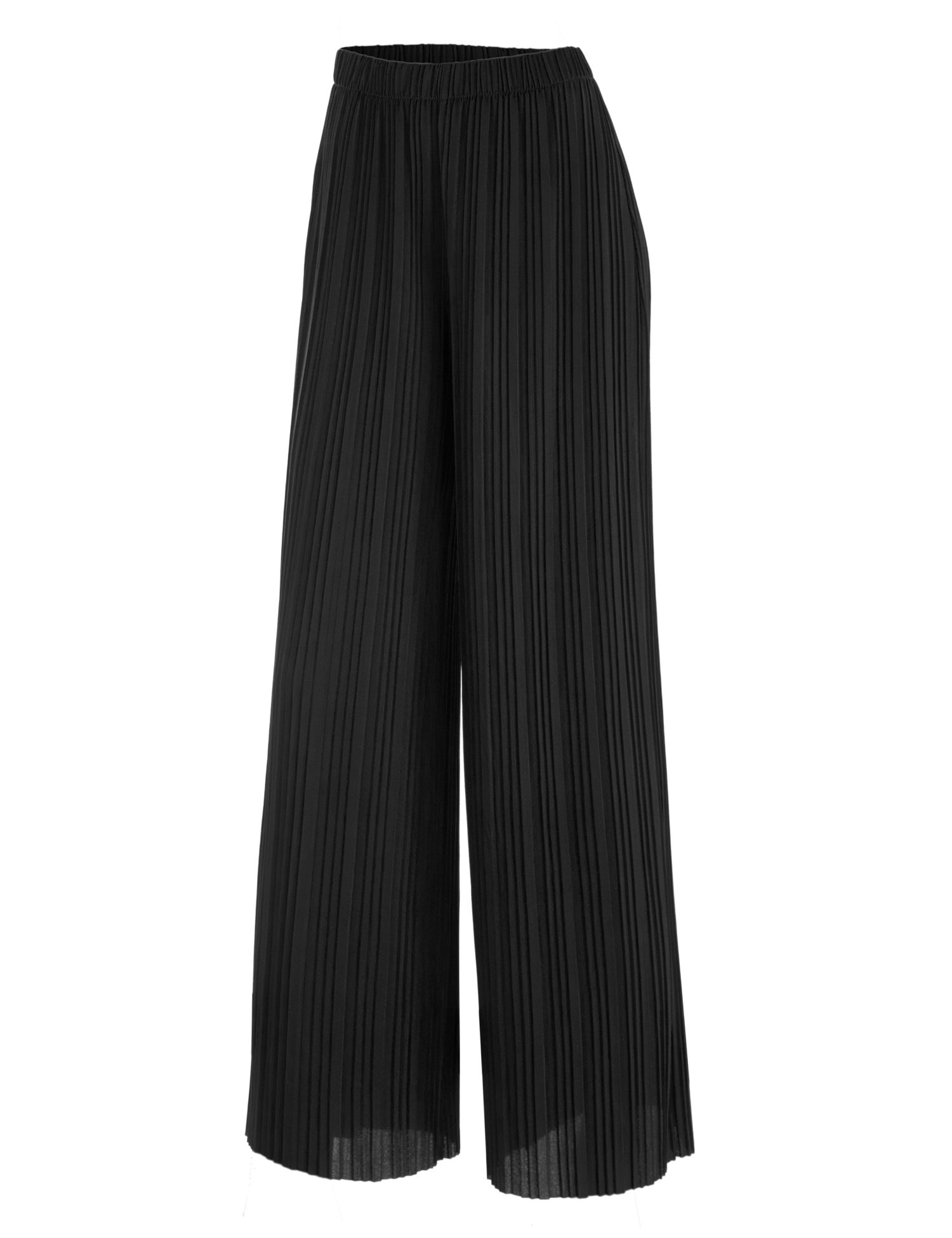 WB1794 Womens Pleated Wide Leg Pants with Elastic Waist Band-Made in USA L Black