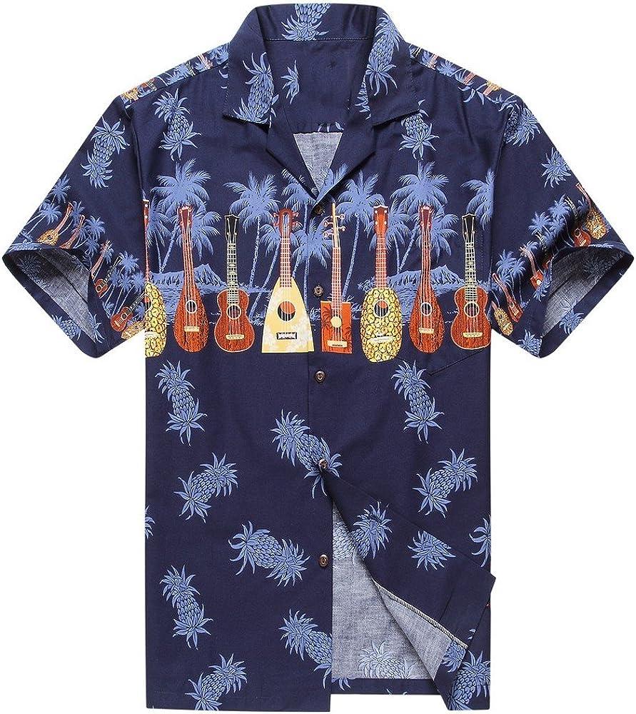 Made in Hawaii Couple Matching Luau Aloha Shirt Tank Dress Cross Ukulele Cross in Navy