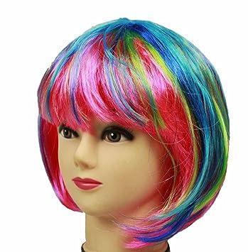 HAAC Peluca Pelo Corto Color Arco Iris Multicolor para Fiesta de Carnaval