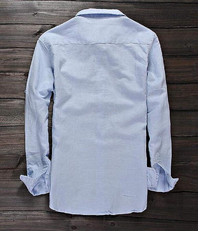 Mfasica Mens Pure Loose Art Long Sleeve Turn Down Collar Dress Shirt