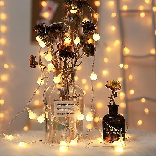 LED Lichterkette Mit Batterie 5M 40er, Globe Lichterkette Warmweiß,  Lichterkette Glühbirnen Mit 8Modi Und Timer, Lichterkette Innen Für  Weihnachten ...