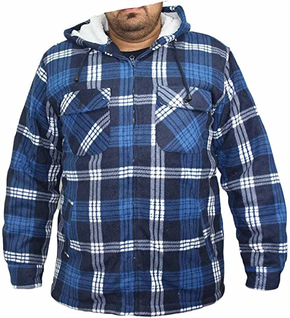 MENS EXTRA THICK FLEECE HEAVY DUTY WORK JACKET PADDED SHIRT FLANNEL LUMBERJACK