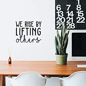 "Vinyl Wall Art Decal - We Rise by Lifting Others - 17"" x 20"" - Positive Modern Motivational Quote for Home Bedroom Office Indoor Workplace School Classroom Decoration Sticker"