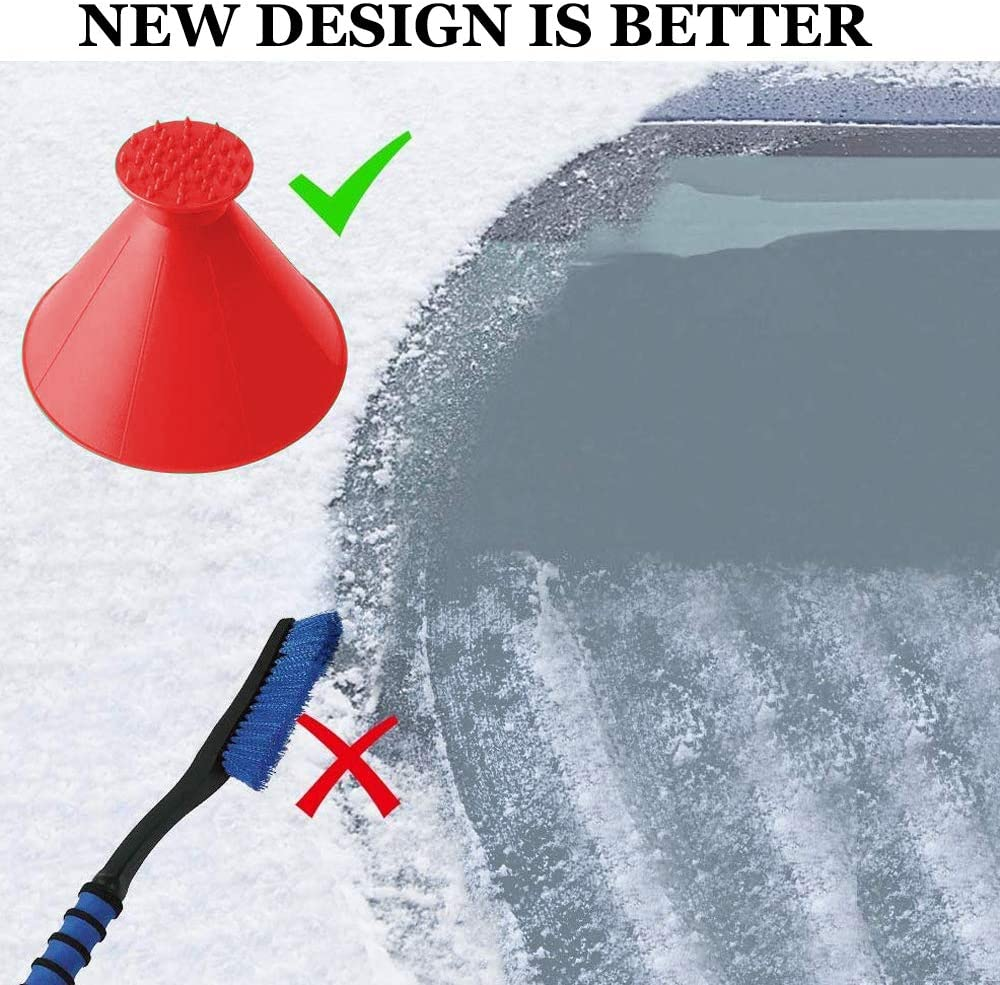 Leaflai Ice Scrapers Windshield Magic Cone-Shaped Round Ice Scraper Breakers for Car Snow Scrapers Magic Funnel Snow Removal Shovels 2 and 1 Tool 4 Colors