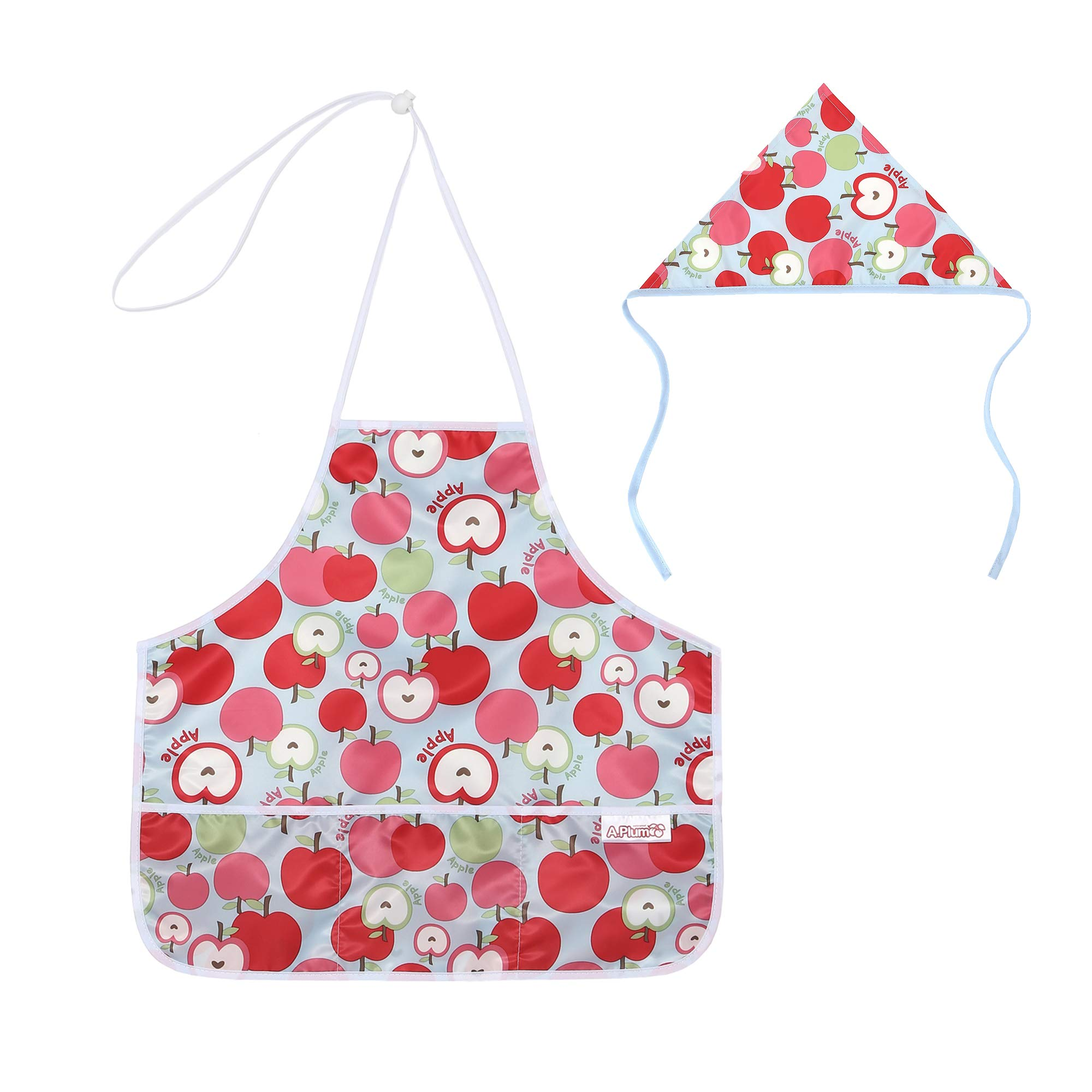 Waterproof Kids Apron and Hat set (014_Apple) by Aplum