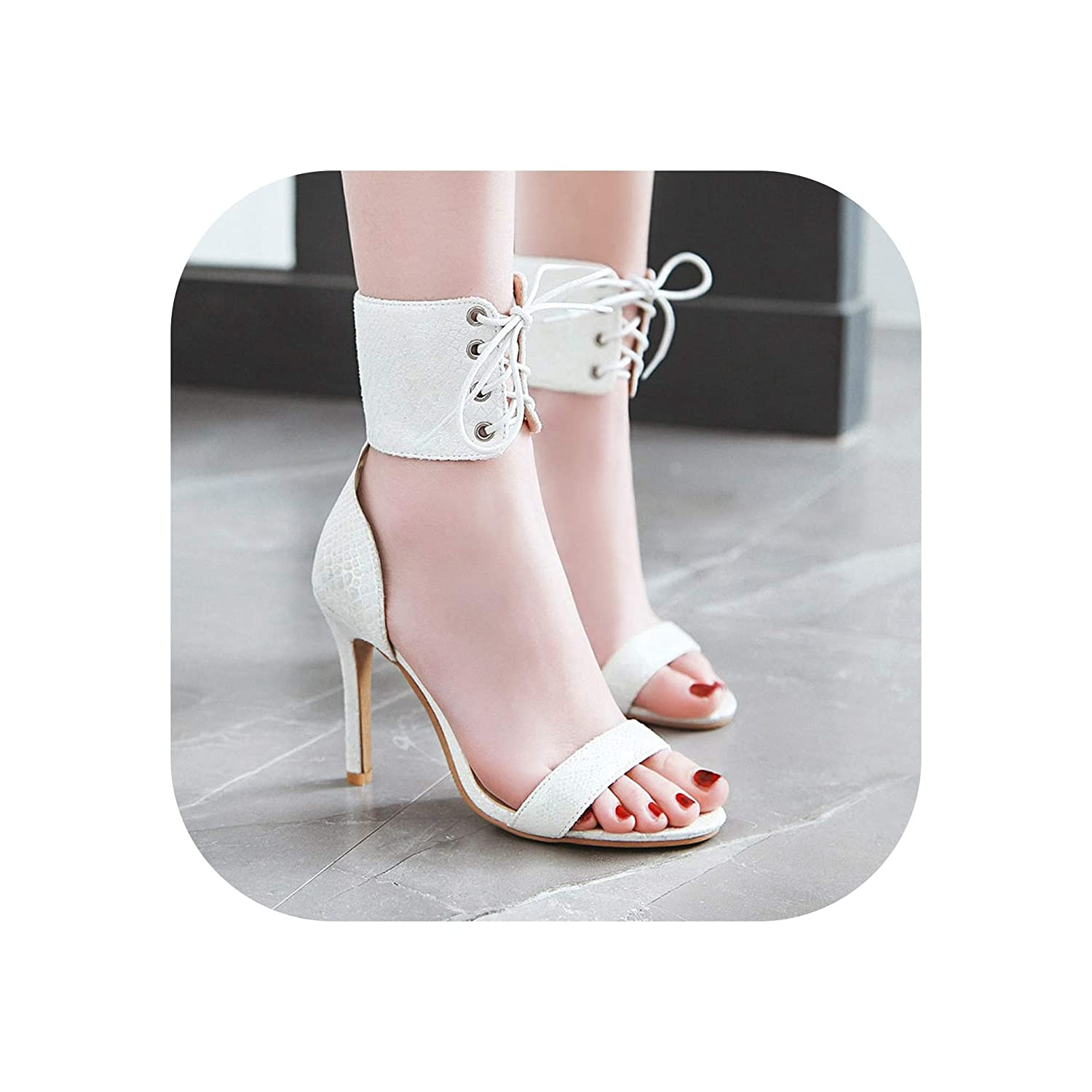 White High Heels Stiletto Sandals Women Sexy Sandal Ankle Wrap Open Toe Lace Up Pumps shoes