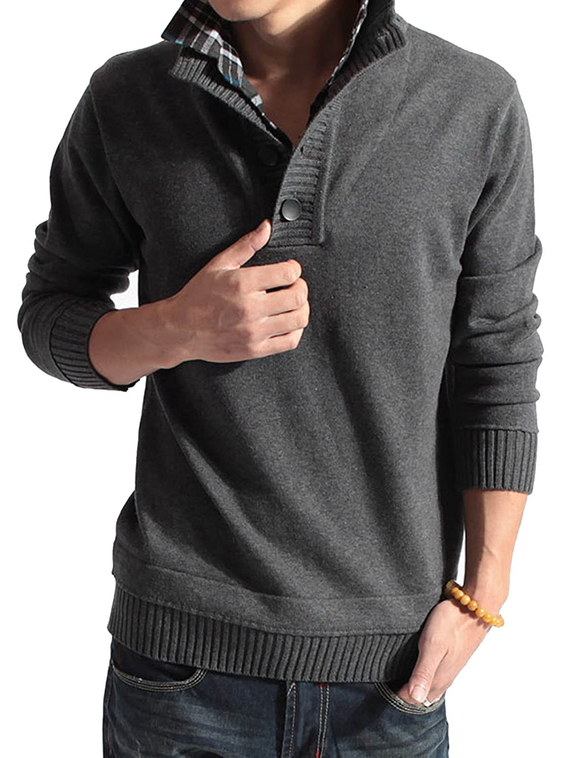 Vogue of Eden Men's Casual Long Sleeve Lapel Neck Knit Sweater with button