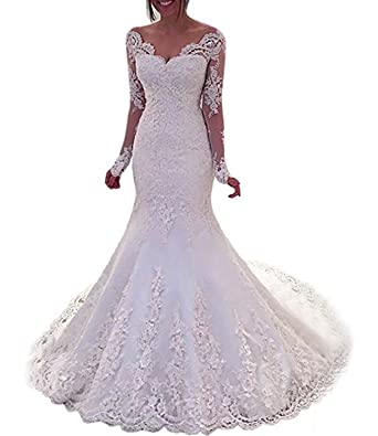 Mermaid Style Wedding Dress.Alanre Sheer Lace Satin Bride Gown Long Sleeves Mermaid Style