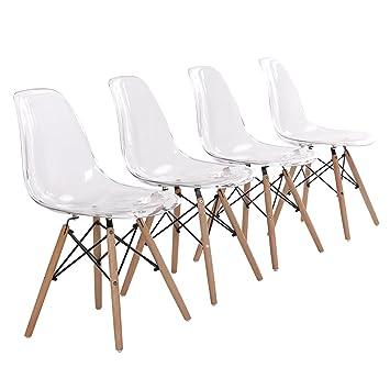 eggree lot de 4 chaise transparente scandinave chaise salle a manger en polycarbonate les jambes de - Chaise Transparente Design