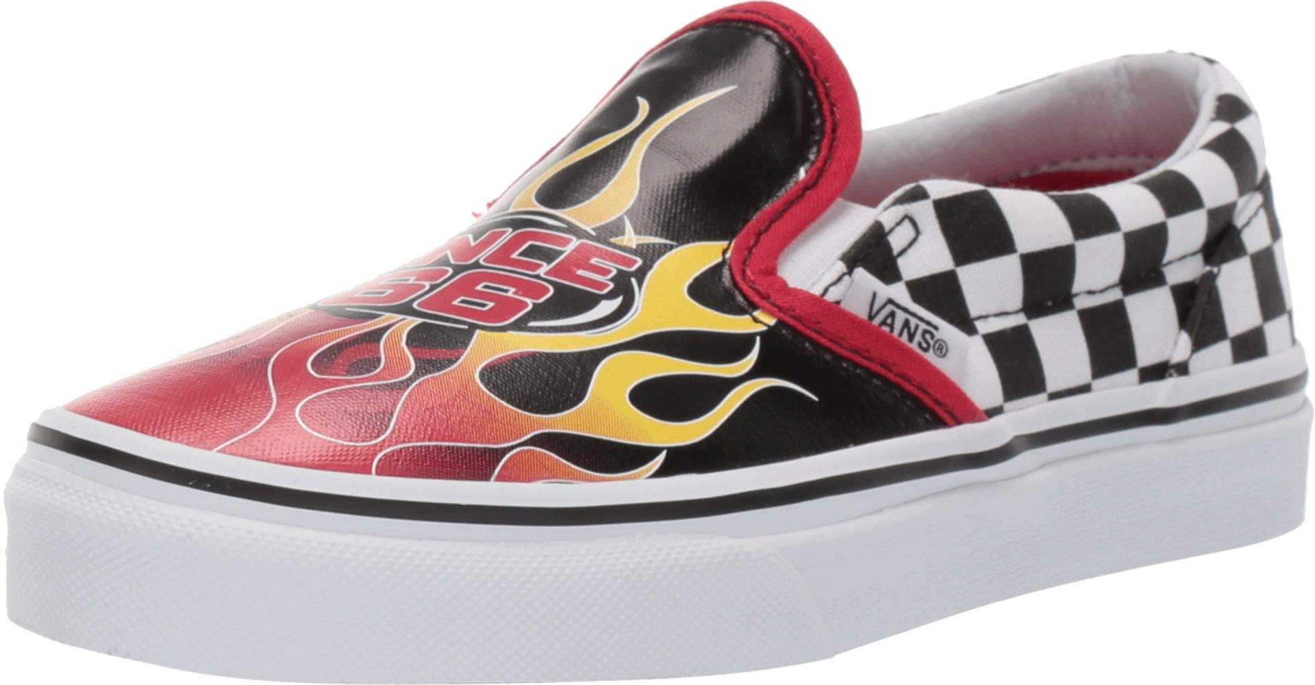 Vans Little/Big Kids Slip On Race Flame Boys Skate Shoe (3.5 M US Bid Kid, (Race Flame) Black/Racing)
