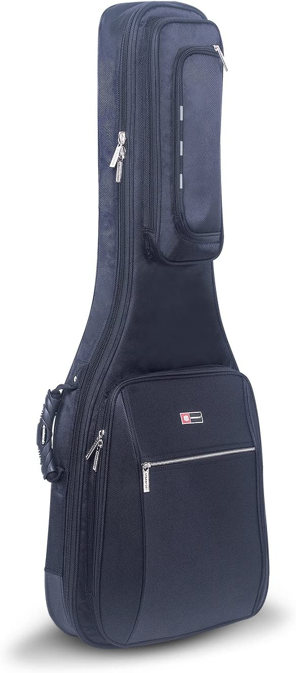 Crossrock CRSG106DBK Acoustic Dreadnought Guitar Bag with 10mm Padded Backpack Straps in Black