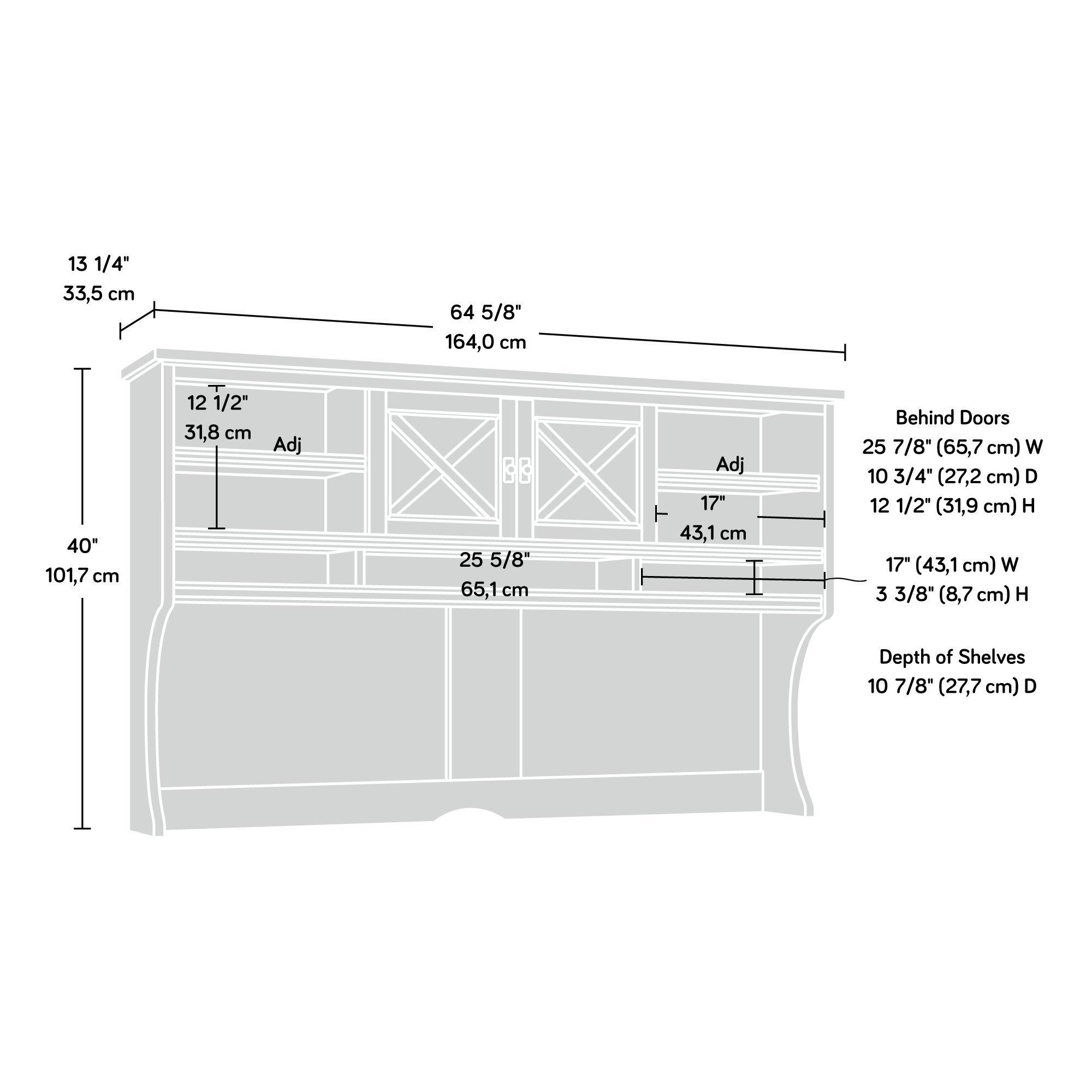 Sauder 422983 Costa Large Hutch, L: 64.57'' x W: 13.19'' x H: 40.04'', Coffee Oak Finish by Sauder (Image #9)