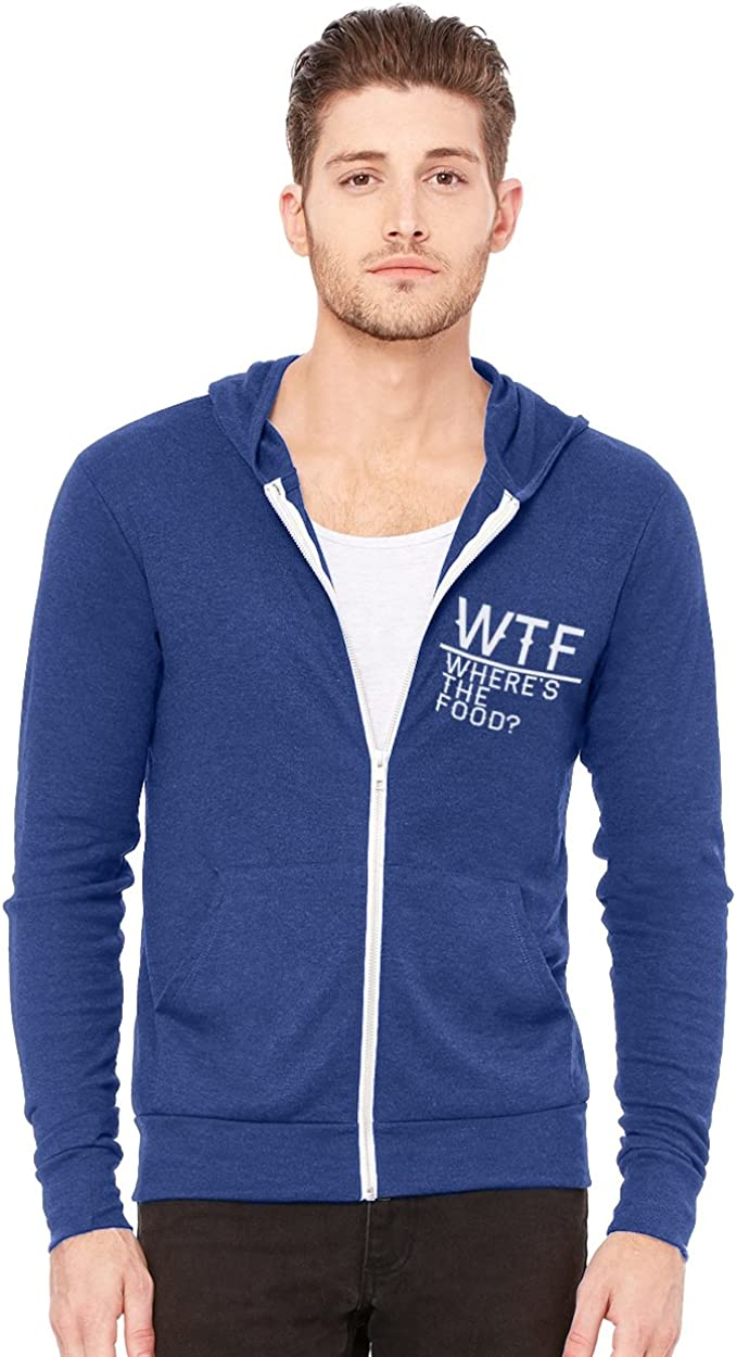 Decal Serpent WTF Where's The Food Men's Triblend Full-Zip Lightweight Hoodie