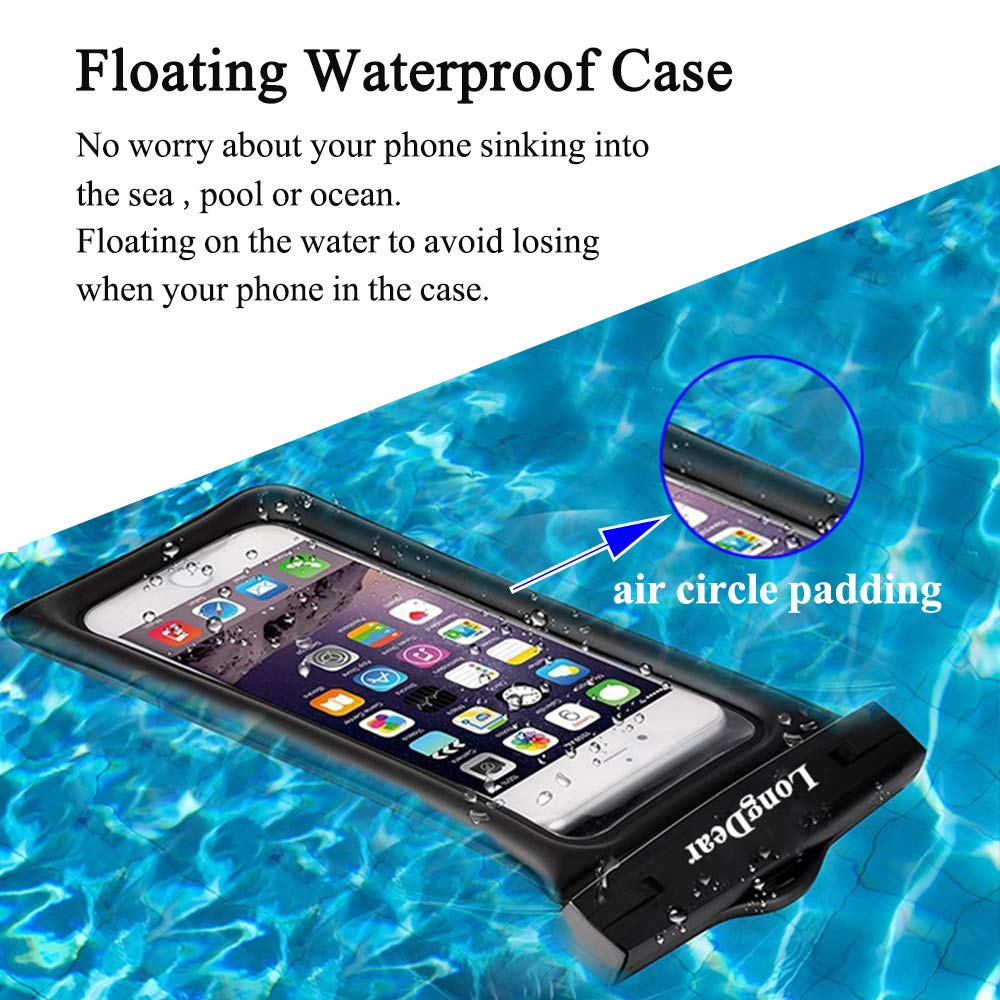 Universal Floating Waterproof Case,Cell Phone Pouch Dry Bag for iPhone Xs  Max/Xr/X/8/8plus/7/7plus Galaxy s9/s8 Note 9/8 Google Pixel up to 6 5