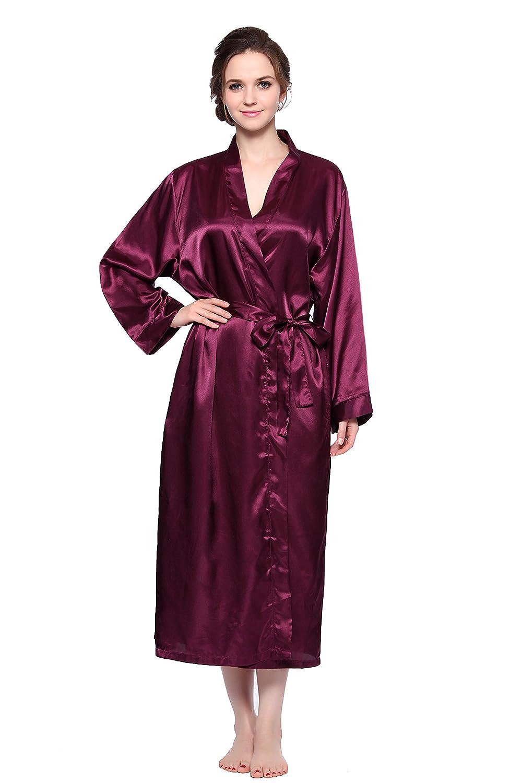 Sunrise Women's Long Classic Satin Kimono Lounge Bathrobe Robe (Large, Purple) WF014