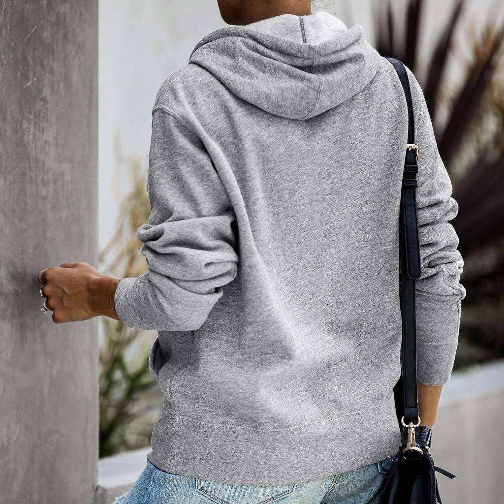 Womens Hoodie Long Sleeve Letter Print Pockets Pullover Sweatshirt Jumper Blouse Tops Outwear