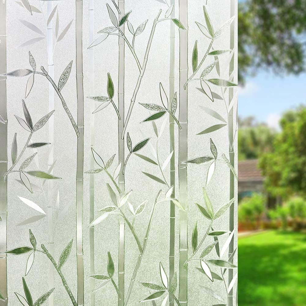 Amazon Brand – Umi Vinilos Ventana – Vinilo Cristal para Ventanas Privacidad Translúcida, Película Autoadhesiva Electroestatico, Anti UV, Reutilizar, para Casa Oficina Privacidad, Bambú(44.5 x 200cm)
