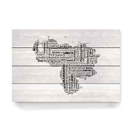 "artboxone Madera de tipografía Cartografía ""Venezuela Map Black monocroma Madera de – cuadro"