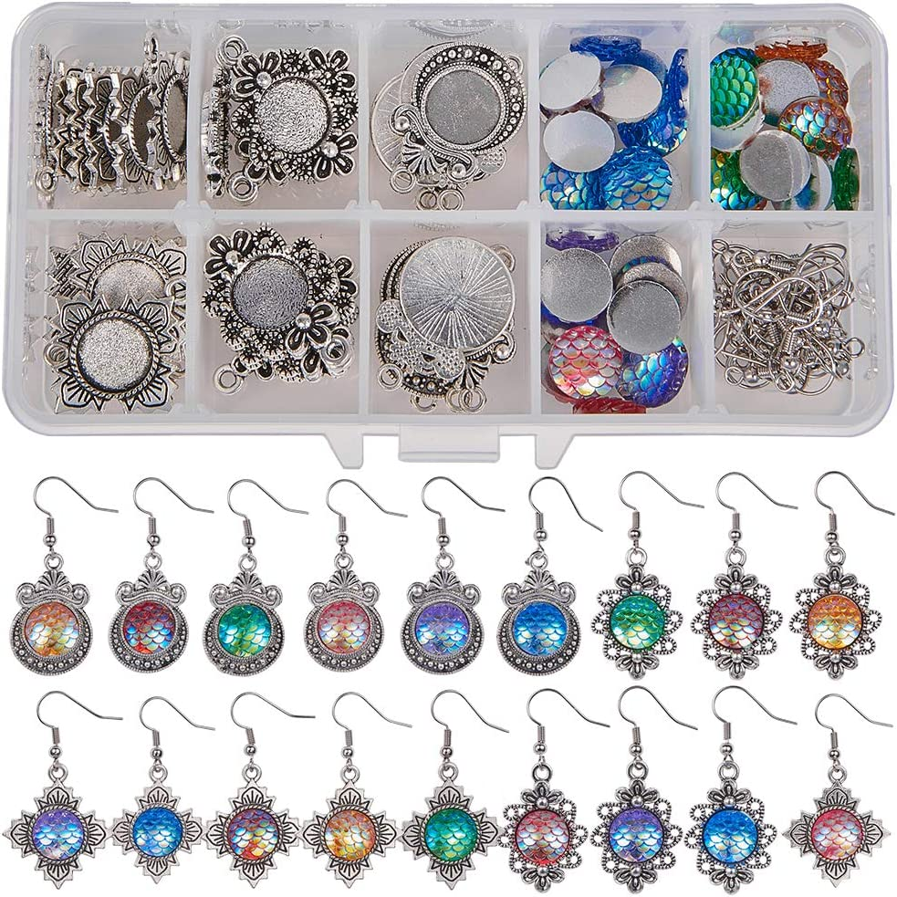 SUNNYCLUE 1 Box DIY 12 Pairs 6 Style Glass Dome Cabochon Earrings Making Starter Kits Photo Jewellry Supplies Crafts Earring Wire Hooks Antique Silver Cabochon Settings